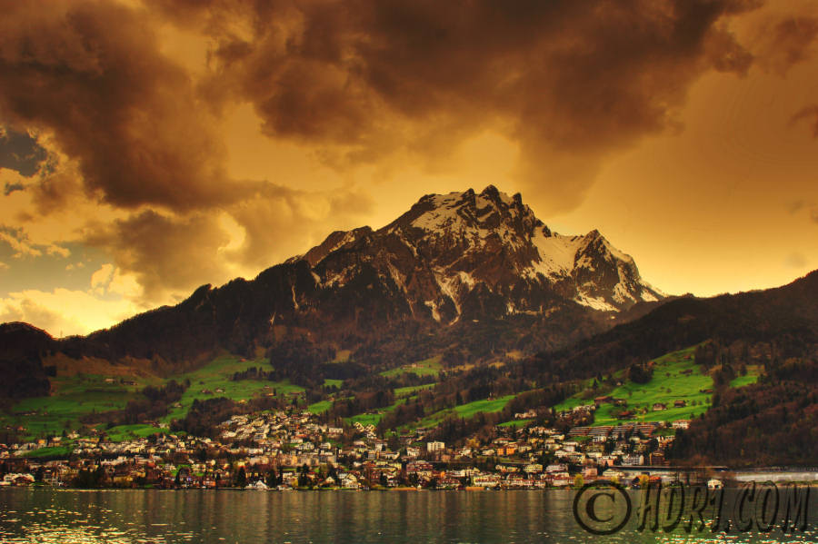 Awesome hdr photography sunset Mount Pilatus Hergiswil Switzerand