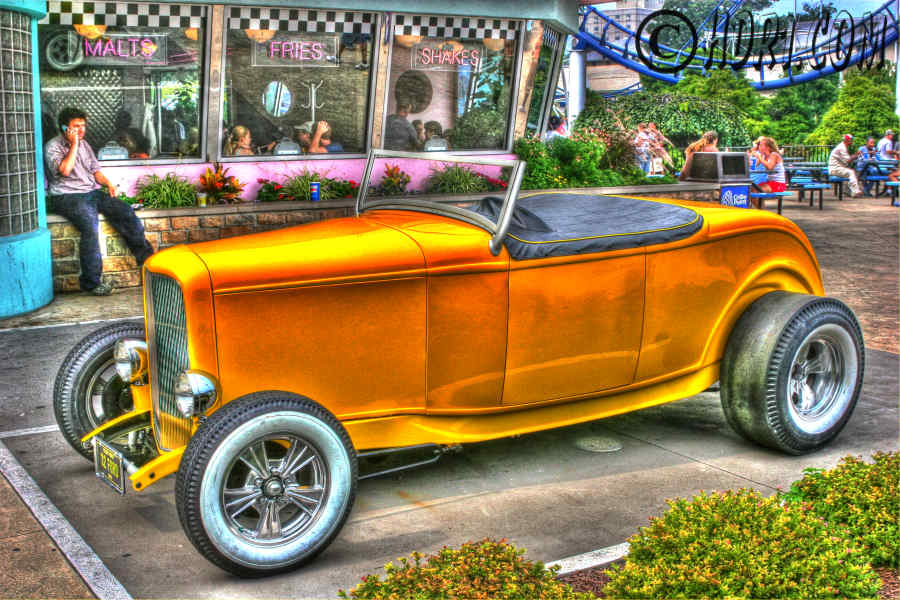 Hdr photography photo image cool yellow 1932 Ford car Cedar Point Sandusky Ohio