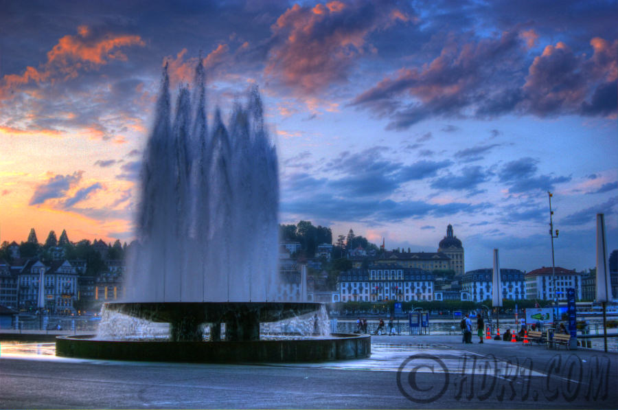 luzern switzerland kkl fountain hdr photography clouds