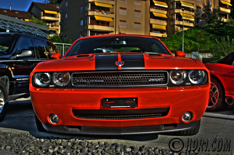 Hdr photography photo image orange dodge challenger srt-8 6.1 hemi muscle cars