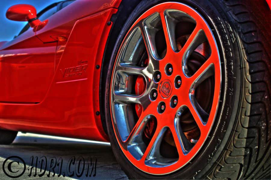 Hdr photography photo image red dodge viper srt-10 convertible muscle cars
