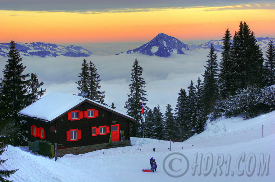 hdr photography Beautiful sunset scene Klewenalp Switzerland ski resort