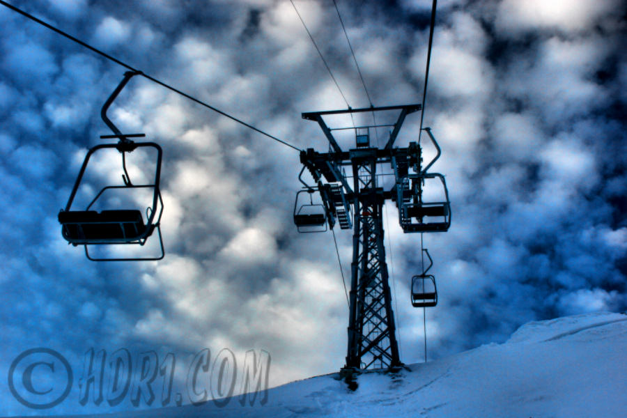 hdr photography awesome clouds ski hill lift Klewenalp Switzerland