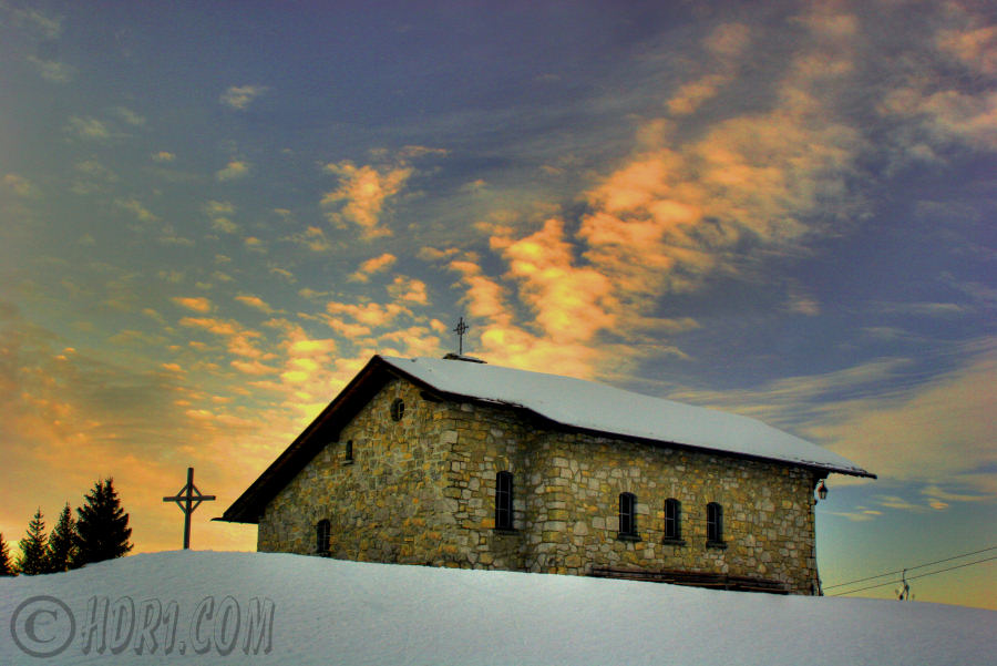 klewenalp switzerland ski resort church hdr cloud photography