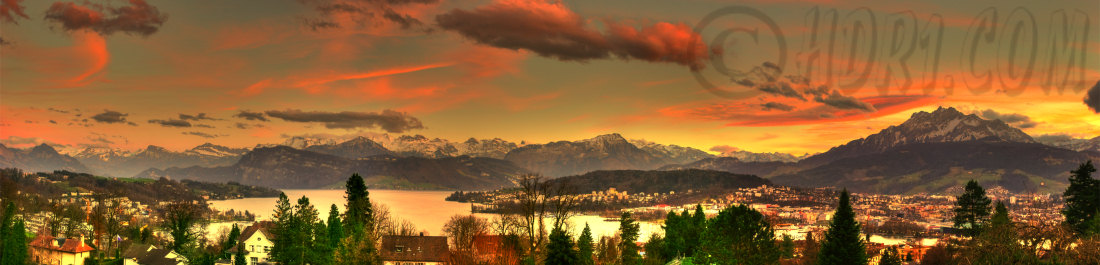 View hill Luzern Switzerland Mount Pilatus Swiss Alps great sunset hdr panoramic photography