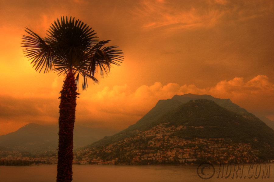 lugano switzerland ch mountain bre sunset palm tree lake photography hdr photography