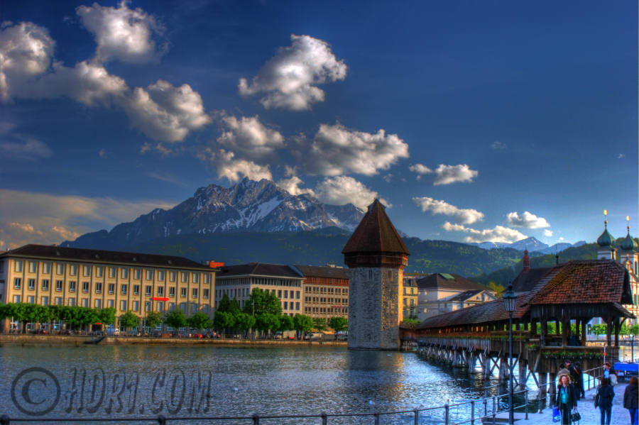 chapel bridge mount pilatus luzern switzerland hdr cloud photography