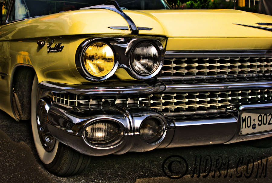 Hdr photography photo image yellow cadillac car