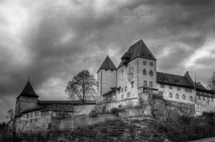 burgdorf switzerland historic castle black white hdr photography