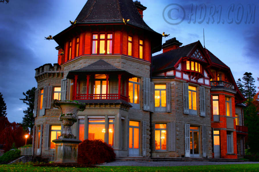 haunted music castle luzern switzerland glowing lights hdr night photography