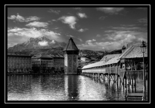 pilatus kapell bridge luzern switzerland hdr photo black white