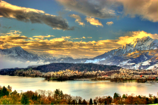 swiss snow pilatus luzern switzerland lake hdr photo sunset