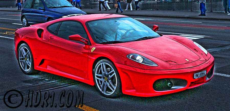 Hdr photography photo image red ferrari f430 spider