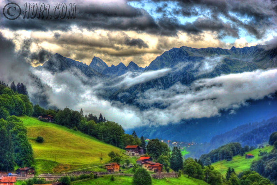 saas fog clouds hdr photography scenic landscapes switzerland photo image